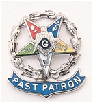 Eastern Star Past Patron Lapel Button in 10K WG  with colored enamel