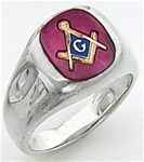 "Master Mason ring Square stone & rounded edges with S&C and ""G"" - Sterling Silver"