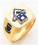 Pennsylvania Past Master ring Square front & rounded edges - 10K Y&WG