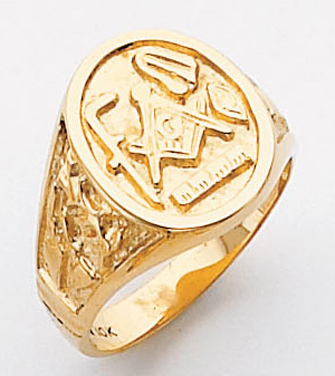 Gold Masonic Ring - 5116 - Solid Back