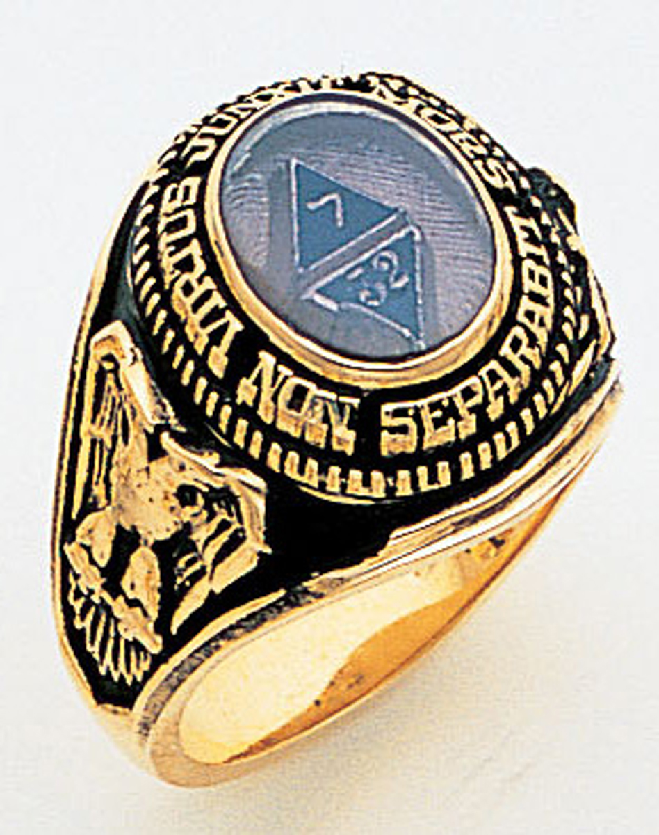 Gold 32 Degree Scottish Rite Ring - 5197 - Solid Back