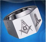 Masonic Ring 12mm Tungsten Multi-facet Signet style ring with symbols