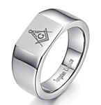 Masonic Ring - 12mm Tungsten Signet style ring with symbol