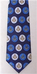 Masonic tie Navy Blue with Royal Blue and White circle pattern and yellow emblems