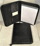 Deluxe Portfolio-Black with Masonic debossed emblem
