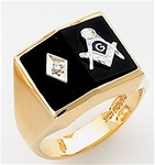 Masonic Ring with 1/2 pt diamond - 9939 - solid back