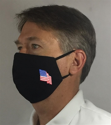 American Flag over Ears Face covering - 100% USA MADE