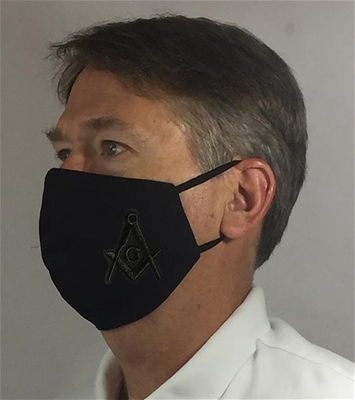 Tone on tone Black Masonic over Ears Face covering - 100% USA MADE