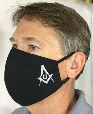 Black Masonic over Ears with nose wire Face covering - 100% USA MADE