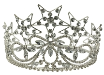 OESCrown in silver tone with rhineston  Five Stars