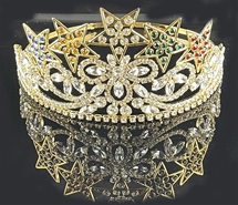Five Star Eastern Star Crown in gold tone with colored rhinestones