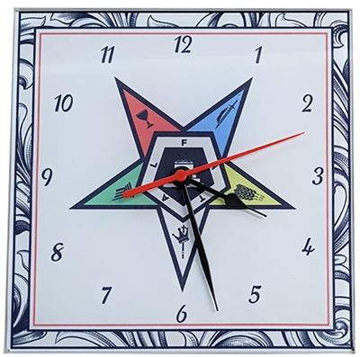 Eastern Star Glass Clock 8""