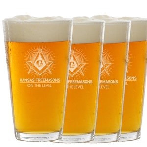 Four 16 oz pint glasses - Kansas