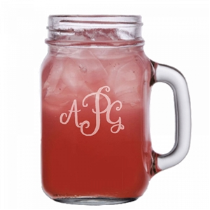 Monogram engraved Mason Jar