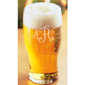 Monogram engraved Tulip Beer Glass