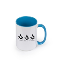 Masonic Coffee Cup blue inside and handle