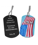 "PERSONALIZED DOUBLE SIDED DOG TAGS W/30"" CHAIN"
