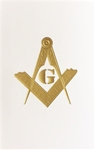 Masonic Gold Foil Embossed Blank Greeting Card (PK of 25)