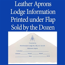 Leather Candidate Apron Lodge Printed Under Flap