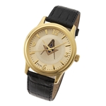 Masonic Wrist Watch w/ Leather Band - Goldtone
