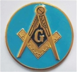 Metal Cast Masonic Emblem with  Light Blue Background