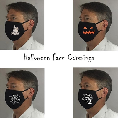 Halloween Face Coverings w 8 inch Elastic - USA made to order