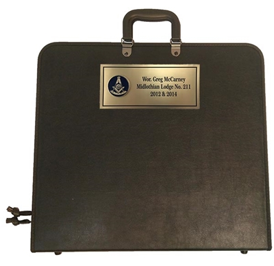 Masonic Apron Case - Black - Custom name plate