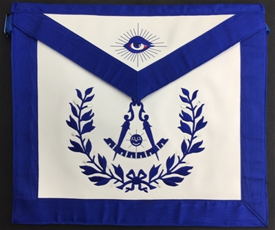 Past Master Apron Leather Royal Blue Emblem with Wreath