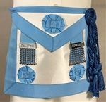 Masonic Apron Medium Blue with Tabs and Rosettes