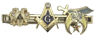 Masonic Tie Bar - Square Compasses, Scottish Rite and Shrine