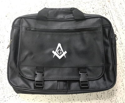 Masonic Black Imitation Leather with White Emblem Expandable Briefcase