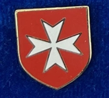 MALTESE CROSS WHITE WITH RED SHEILD LAPEL PIN