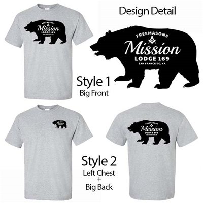 Masonic Lodge T-Shirt California Bear Design
