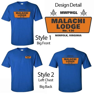 Masonic Lodge T-shirt Orange Design