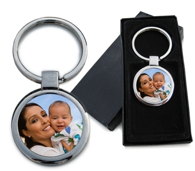 Round Photo Keychain with gift box