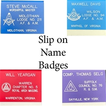 "Masonic Slip-on Pocket Name Badge w/ Engraved Emblem- 3"" x 2 3/4"""