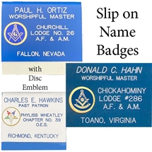 "Masonic Slip-on Pocket Name Badge w/ Disc Emblem- 3"" x 2 3/4"""