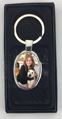 Oval Photo Keychain with gift box