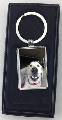 Rectangle Photo Keychain with gift box