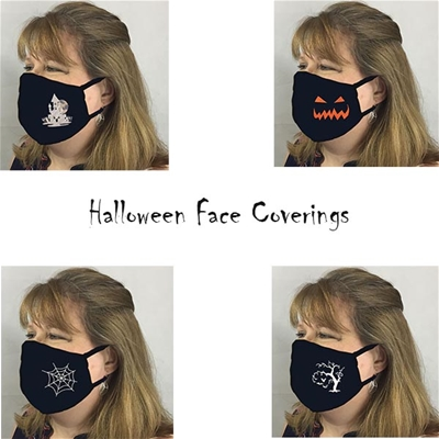 Halloween Face Coverings w 6 inch Elastic - USA made to order