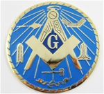 Metal Cast Masonic Emblem w/ blue background and Working Tools