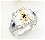 "Master Mason ring Square front & S,C and ""G""  - Sterling Silver"