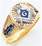 "Masonic ring Round front with S&C and ""G"" - 10K W&YG"