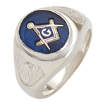 "Masonic rings Round stone with S&C and ""G"" - Sterling Silver"