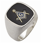 "Masonic Rings Square stone with S&C and ""G"" - Sterling Silver"