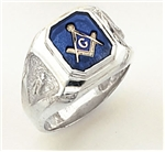 "Master Mason ring Square stone & rounded edges with S&C and ""G""- Sterling Silver"