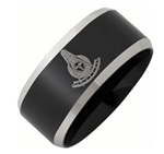 Stainless Steel Past Master Ring Black with Beveled Edge