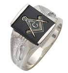 "Master Mason ring Square stone with S&C and ""G""- Sterling Silver"