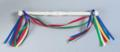 White Wooden Baton with 5 color ribbons
