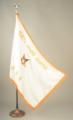 White Satin O.E.S. Flag Embroidered with Name, OES and Star on ONE SIDE with up to 50 letters
